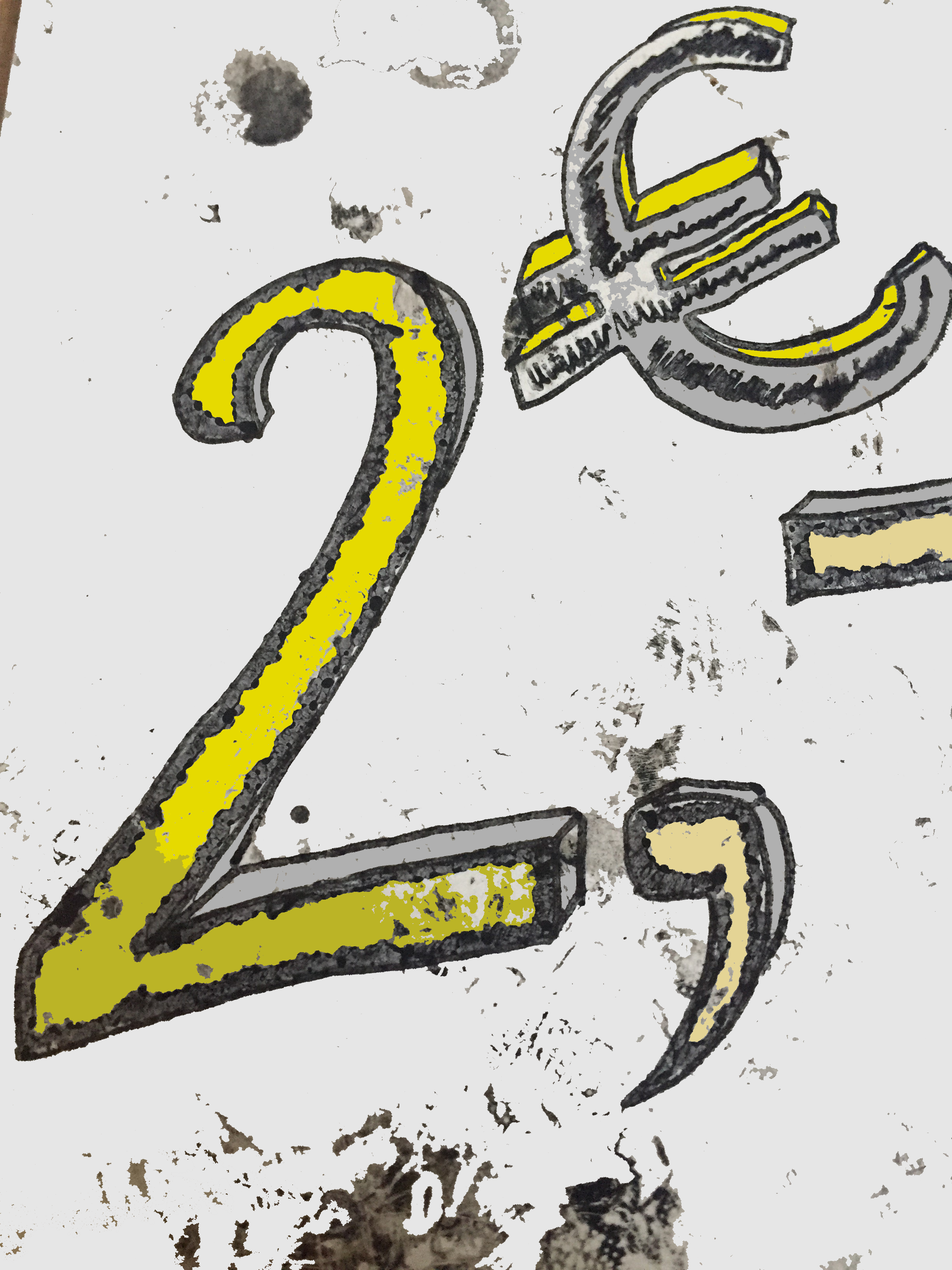zwei Euro als Ziffer und als Währungssymbol