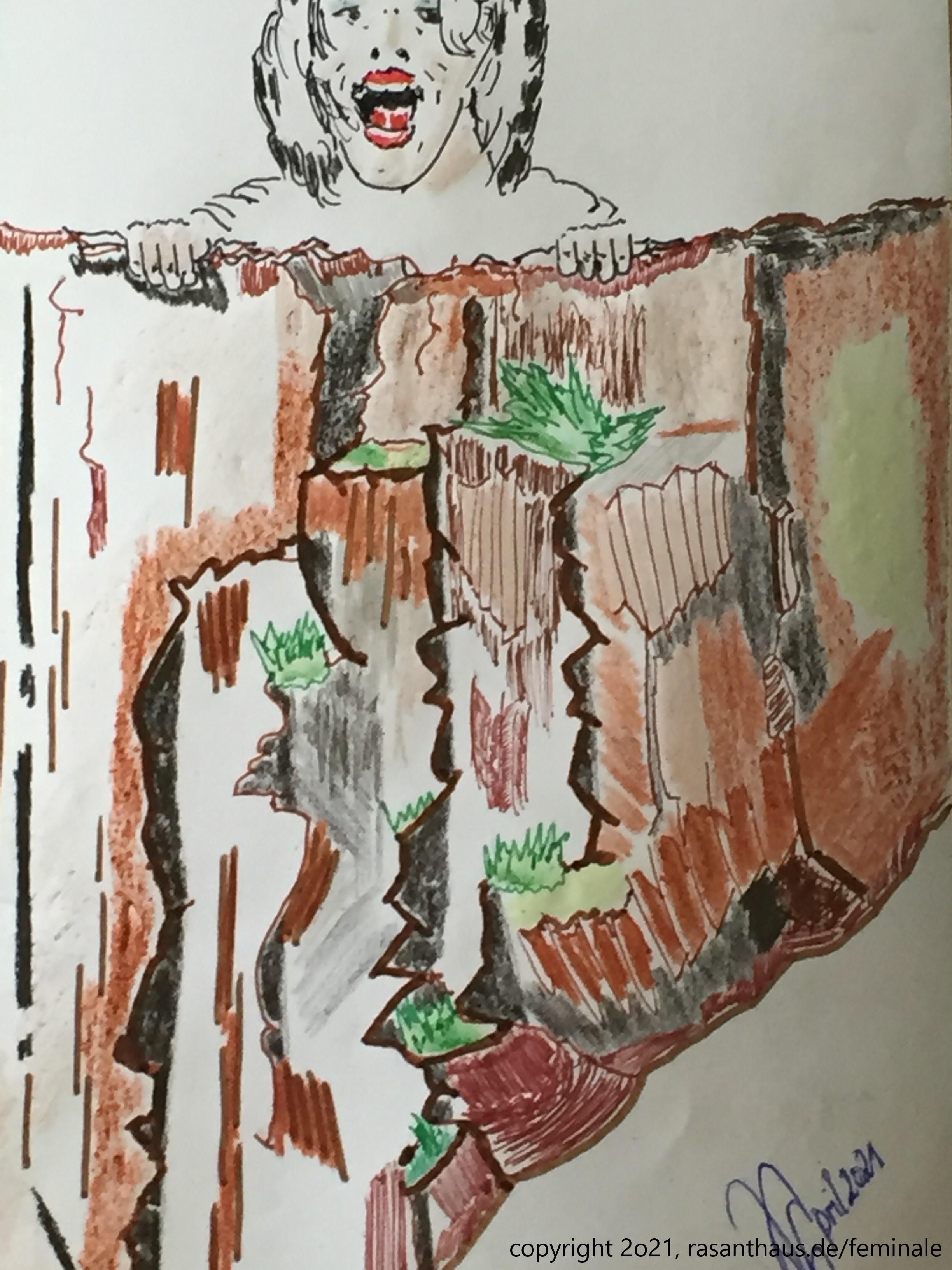 mit Bunt- und Filzstiften eine Frau gezeichnet, wie sie auf einen Abgrund liegt von unten hinauf betrachtet