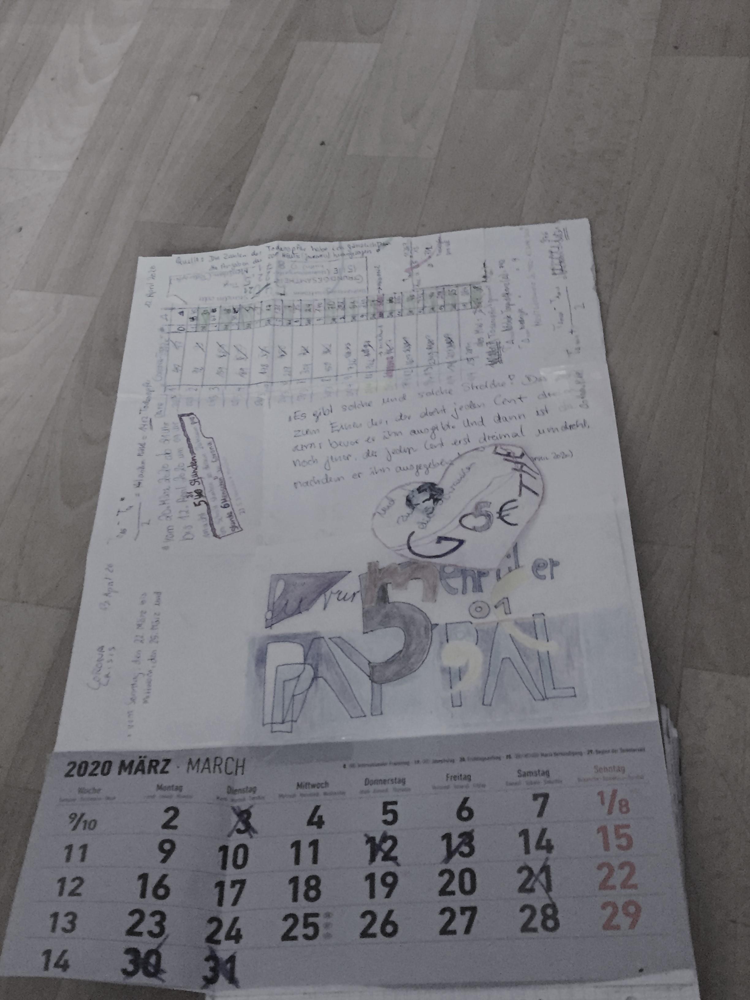 Covid_19-Kalender am Anfang der Pandemie