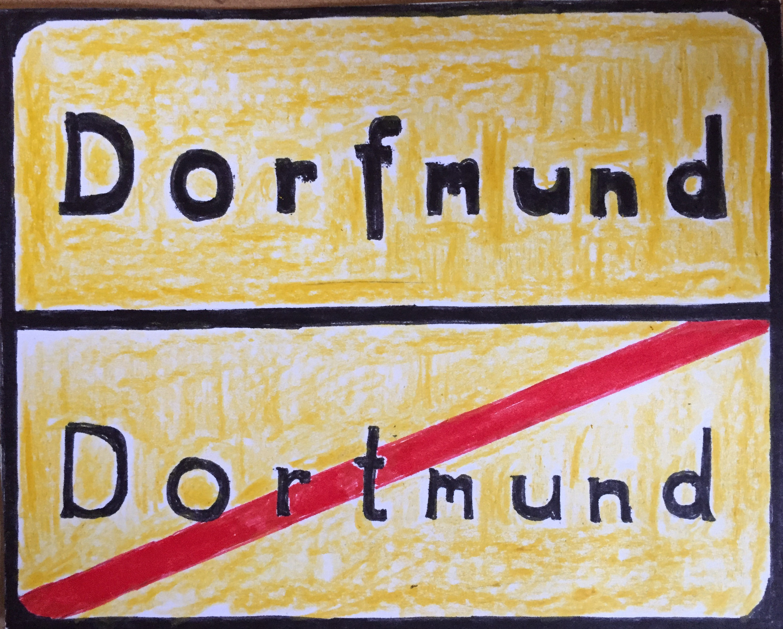 Ortsausgangs- und Ortseingangsschild in einem. Dortmund endet, wo Dorfmund beginnt