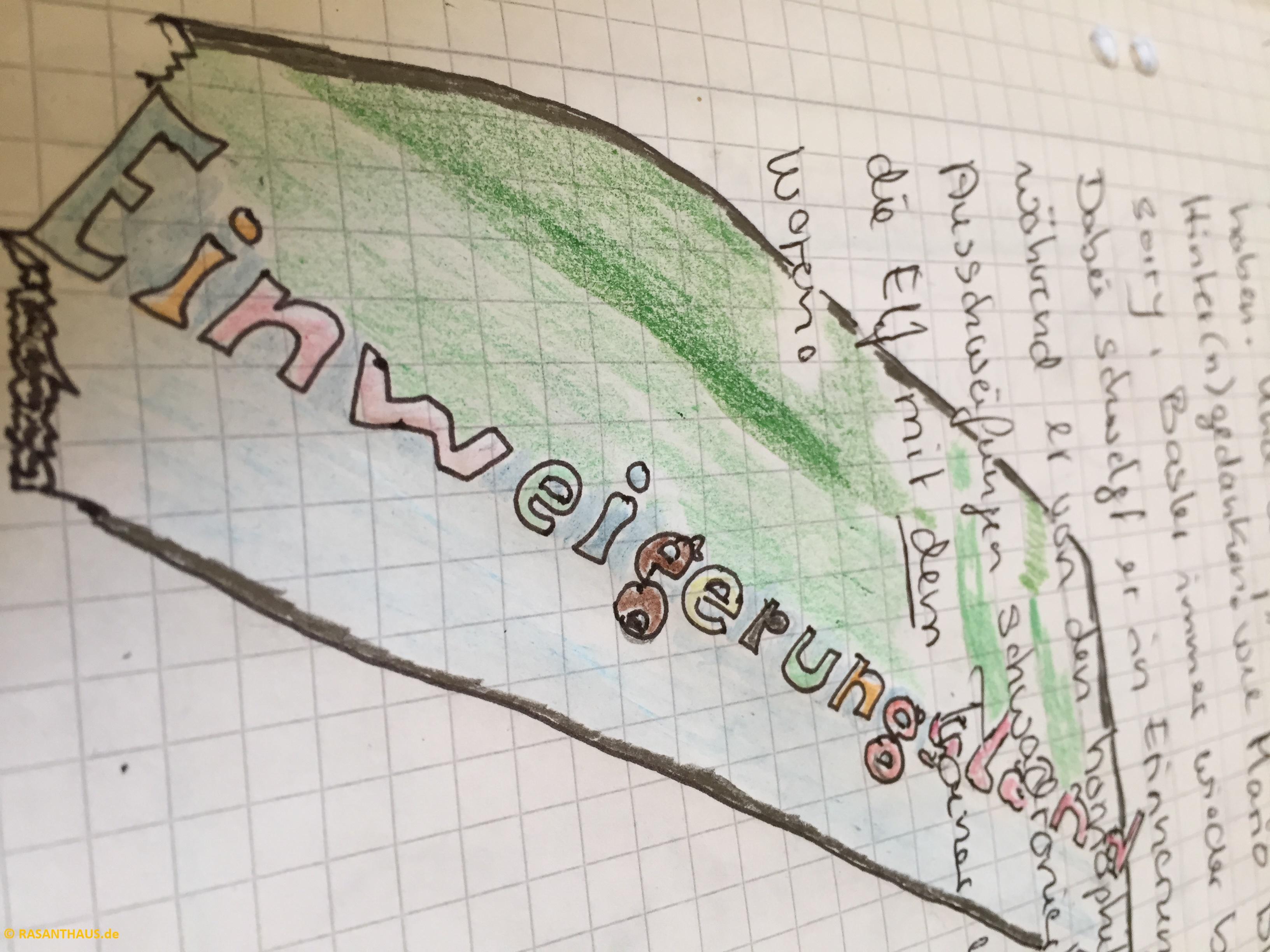 Einweigerungsland in pink mit grünen Hintergrund und braun gerahmt