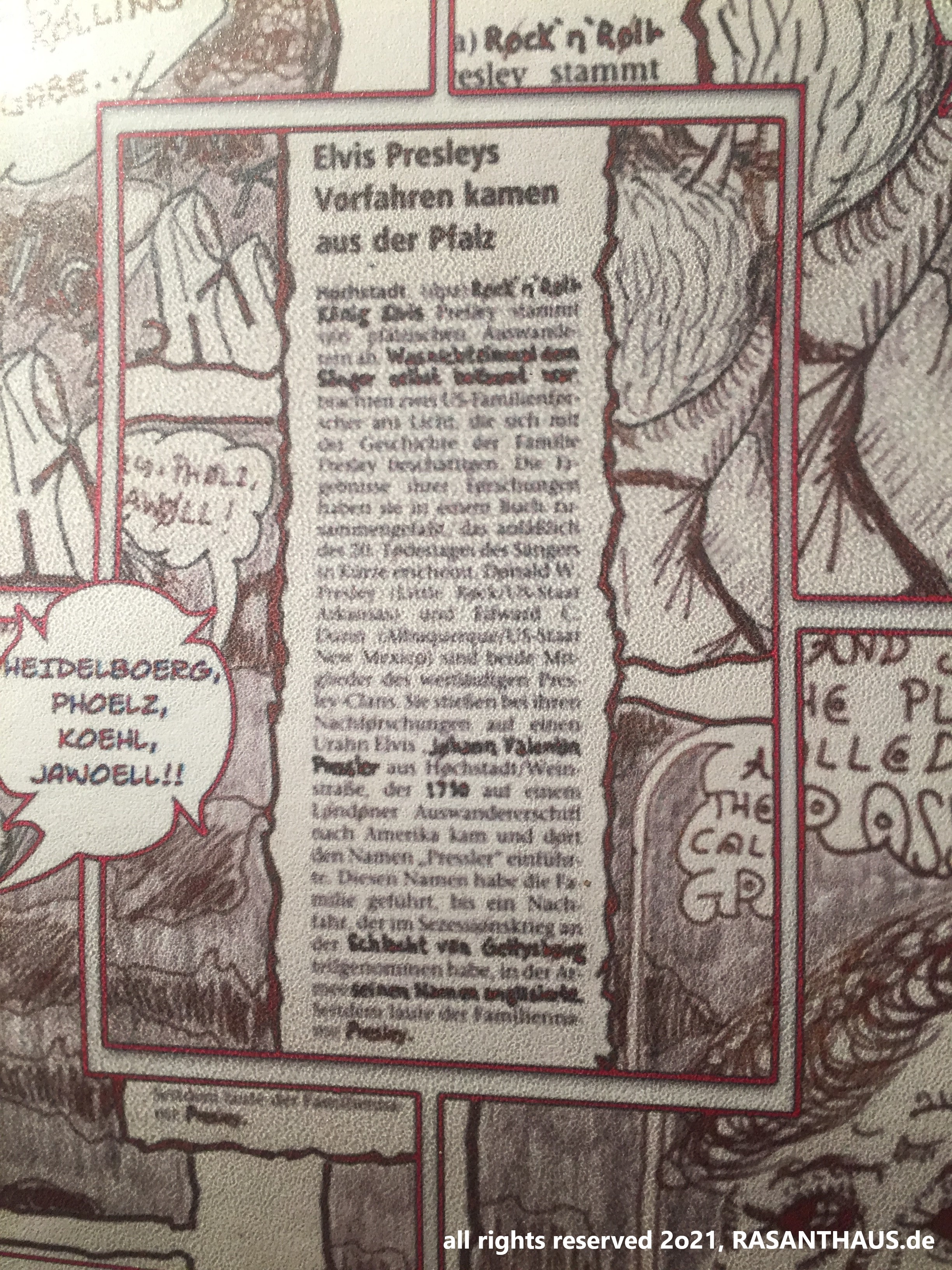 ein Zeitungsartikel, der über Elivs Vorfahren aus der Oberpfalz berichtet, umrahmt in Kosakes Bilderzählung 'Grassland'