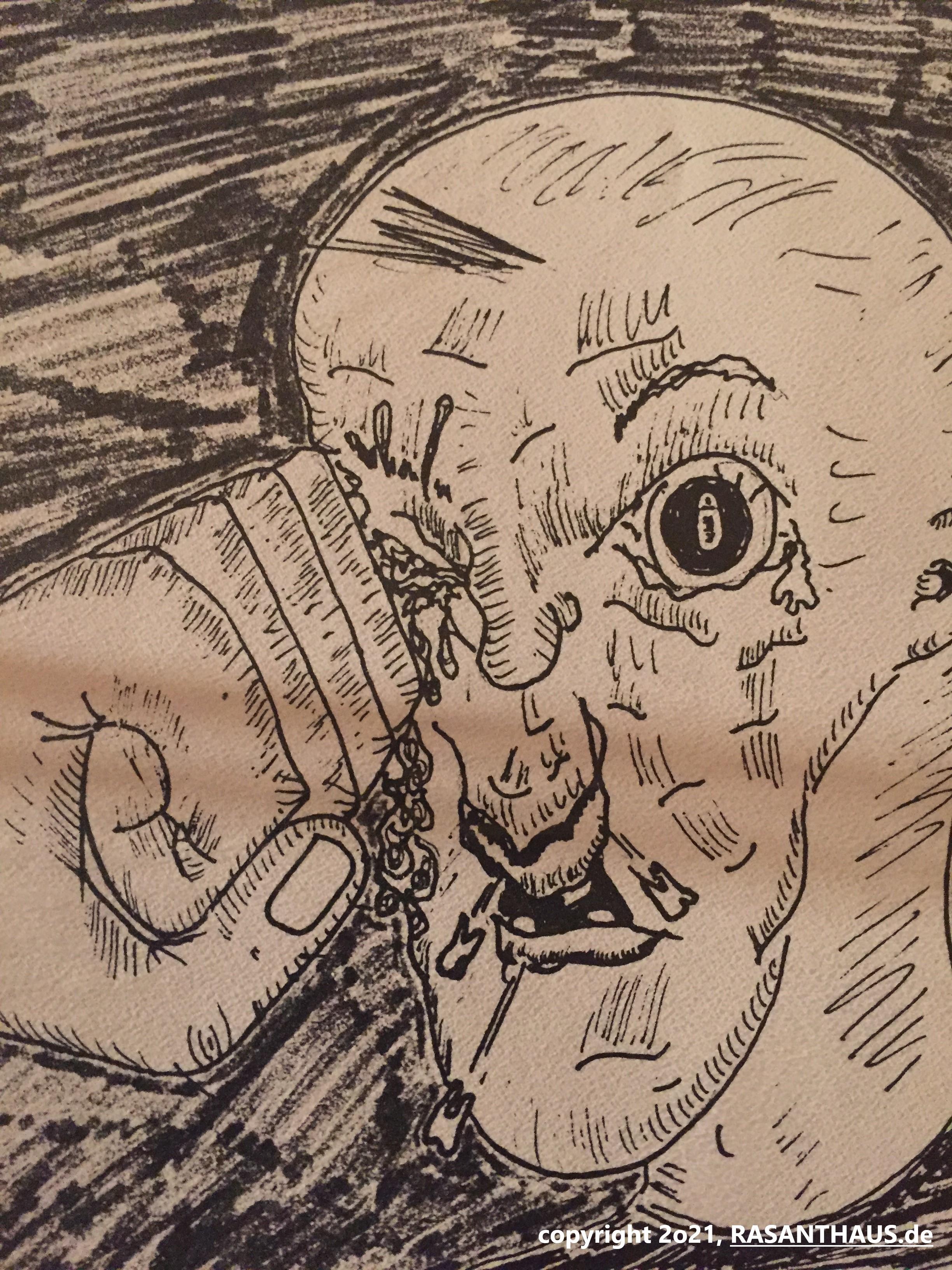 eine Comicszene in Zeitlupe 'Faust rast in rechte Gesichtshälfte des Gegenübers' direkt aufs Auge. Trotzallem fliegen Zähne aus 'Preis nach V. B.' ist in der DTP-Nachbearbeitung