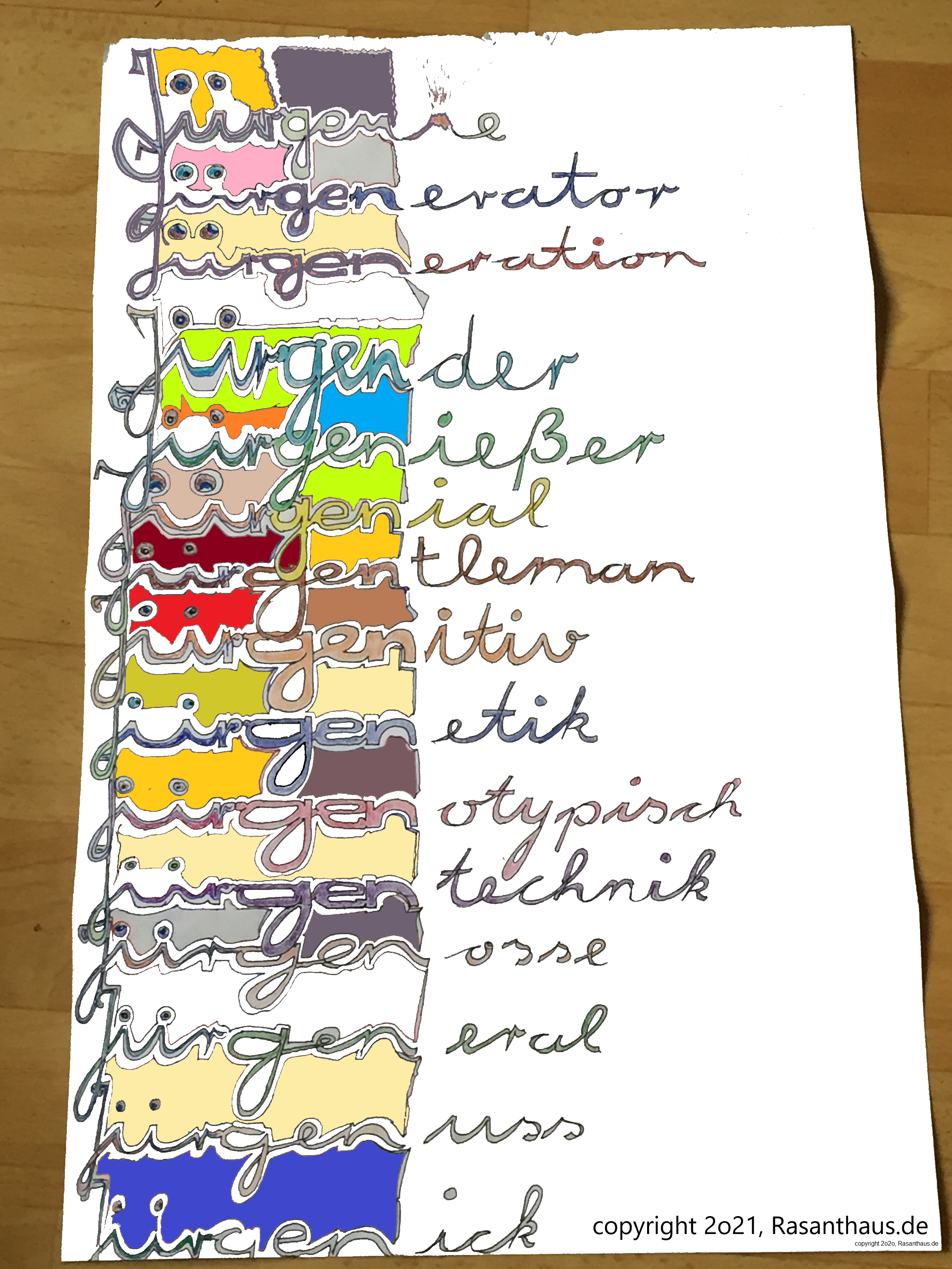 Begriffshochzeit des Vornamen Jürgen mit Genick als Jürgenick in künstlerischer Farbdarstellung