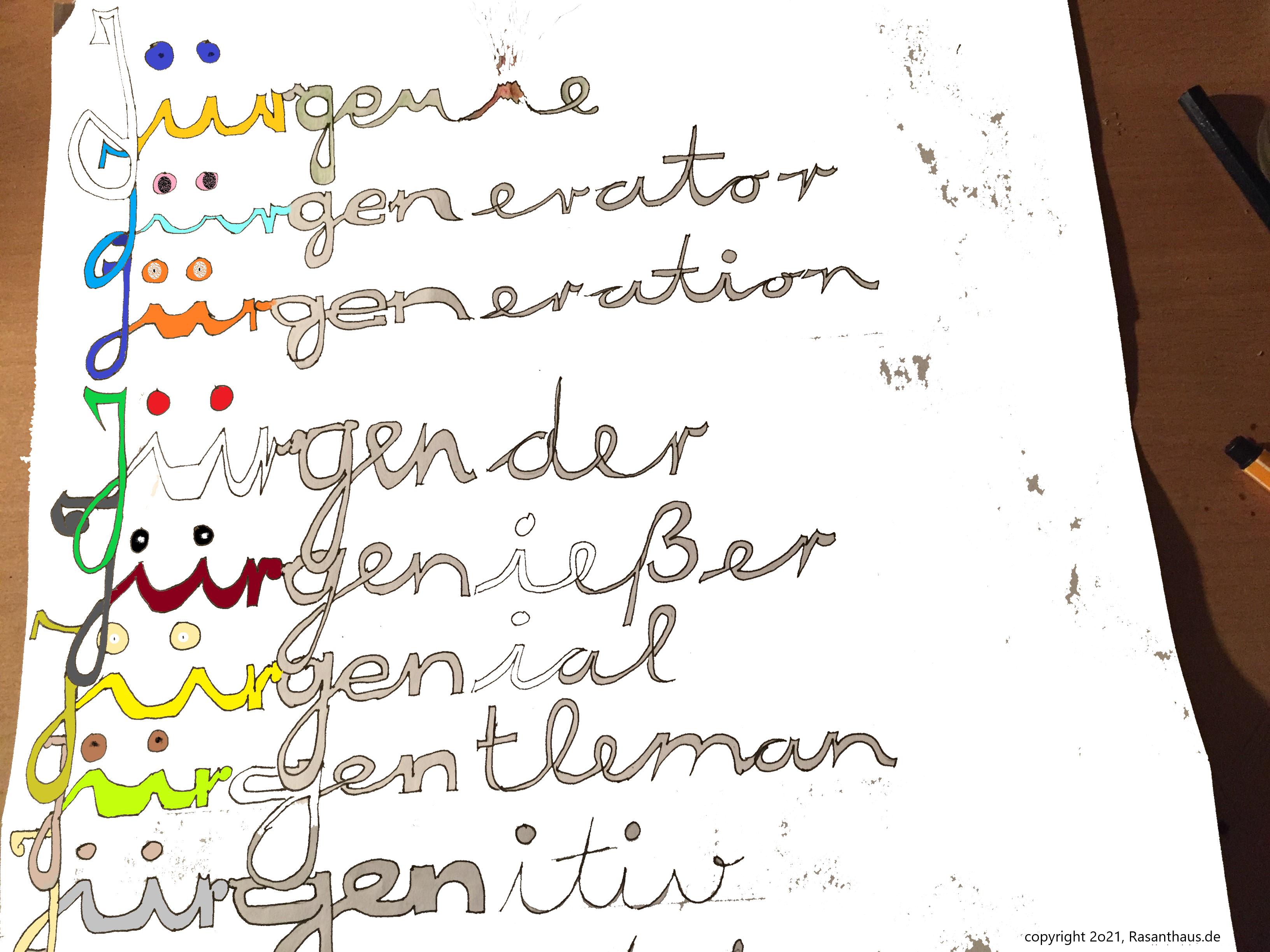 Begriffshochzeit des Vornamen Jürgen mit Gentleman als Jürgentleman in künstlerischer Farbdarstellung