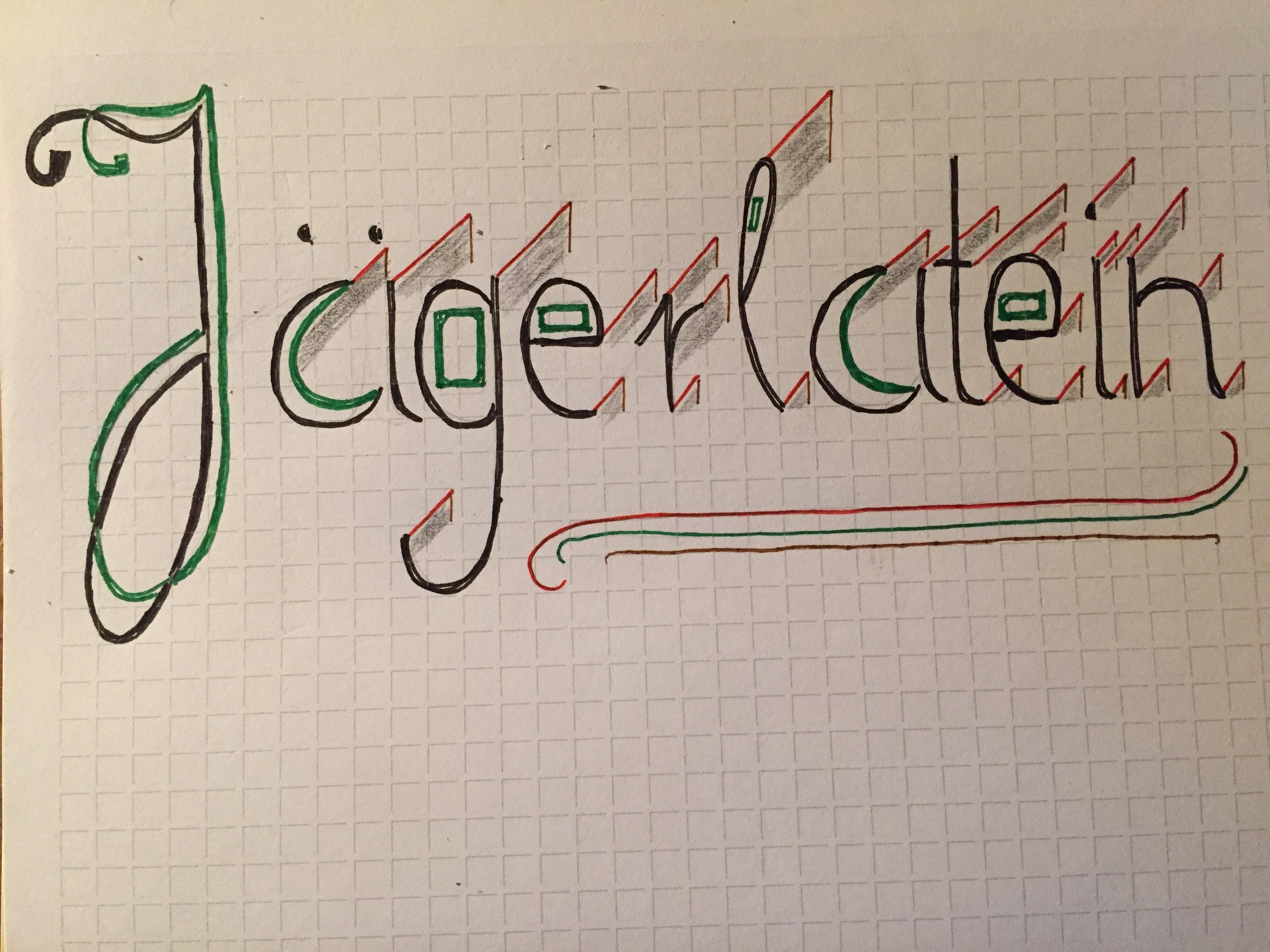 in geschwungener Handschrift das Wort Jägerlatein