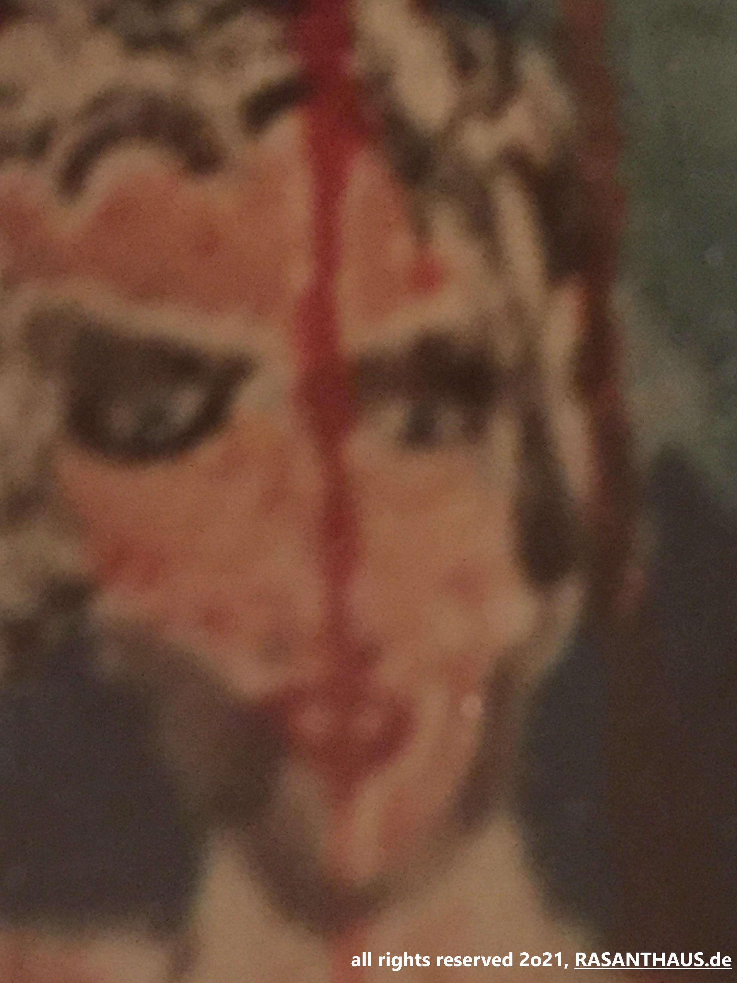 ein Wandportrait in Aquarell einer selbstbewusst schauenden Frau, Anfang 30, schaut mit Pagenschnitt und aus blauen Augen den Betrachter direkt an