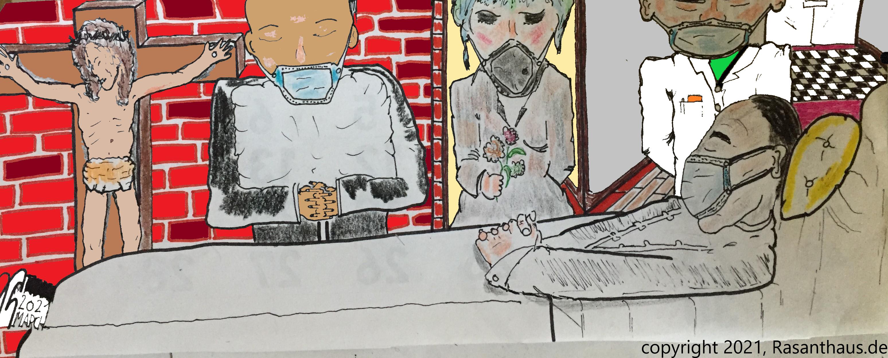 ein offener Sarg, ein männlicher ca. 50-jähriger Toter mitsamt Atemschutzmaske, verabschiedet von einem Mann, einer Frau, einen Mediziner. An der Wand hängt ein Kruzifix mit leidendem Jesu