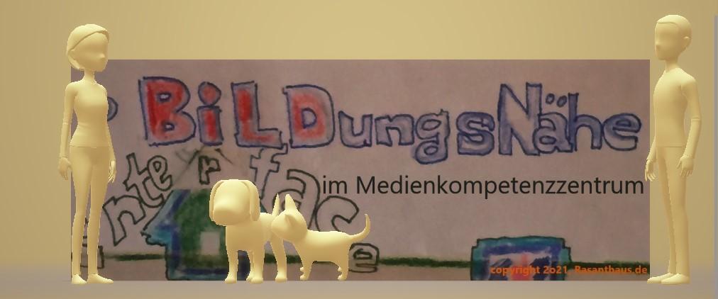 'Bildungsnähe im Medienkompetenzzentrum' steht zum Teil in bunten Lettern hinter einer Frau, einem Mann, einer Katze und einem Hund. Alle in 3D figürlich im Raum verteilt abgebildet