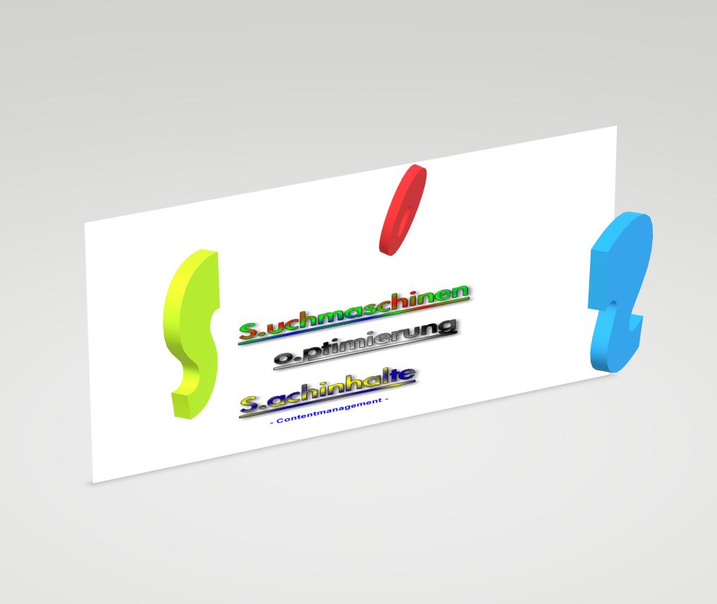 in bunten Lettern steht dort untereinander angeordnet, beginnend mit 'Wir versorgen Sie mit Inhalten, dann S.maschinen, dann o.ptimierung, dann S.achinhalte' und zum Schluss in blauer Schrift gehalten 'Contentmanagement'