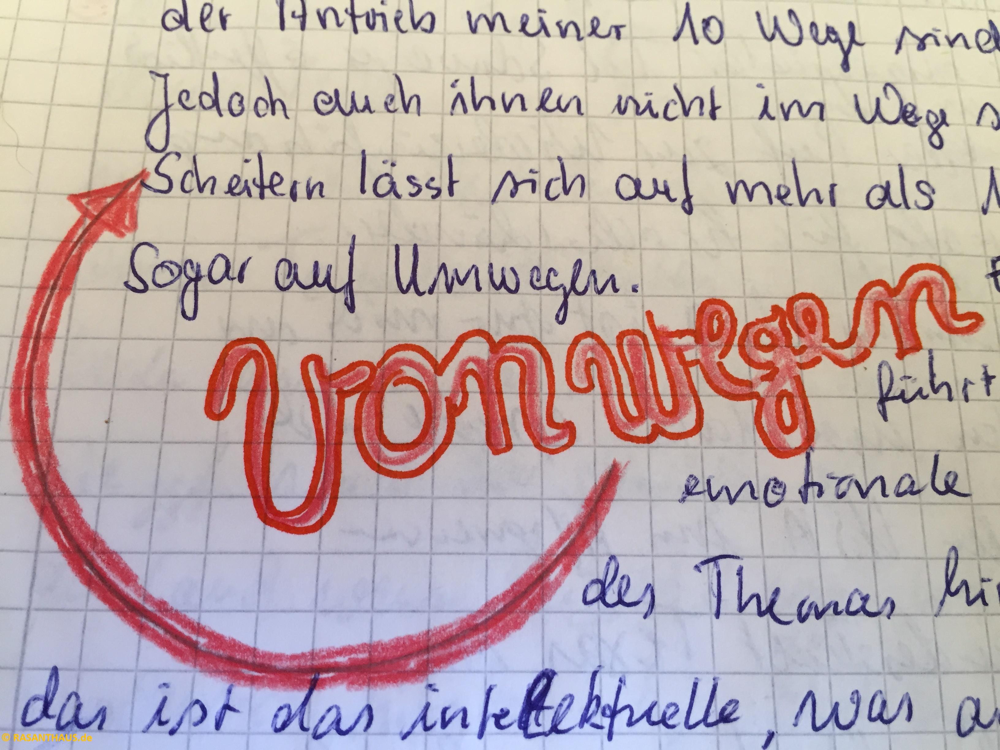 vonwegen schwungfolg in rot geschrieben, im HIntergrund ein Text, der von Umwegen handelt. Das w im vonwegen zeigt ein Pfeil im Halbkreis geschwungen nach links und begrenzt von vorn vonwegen