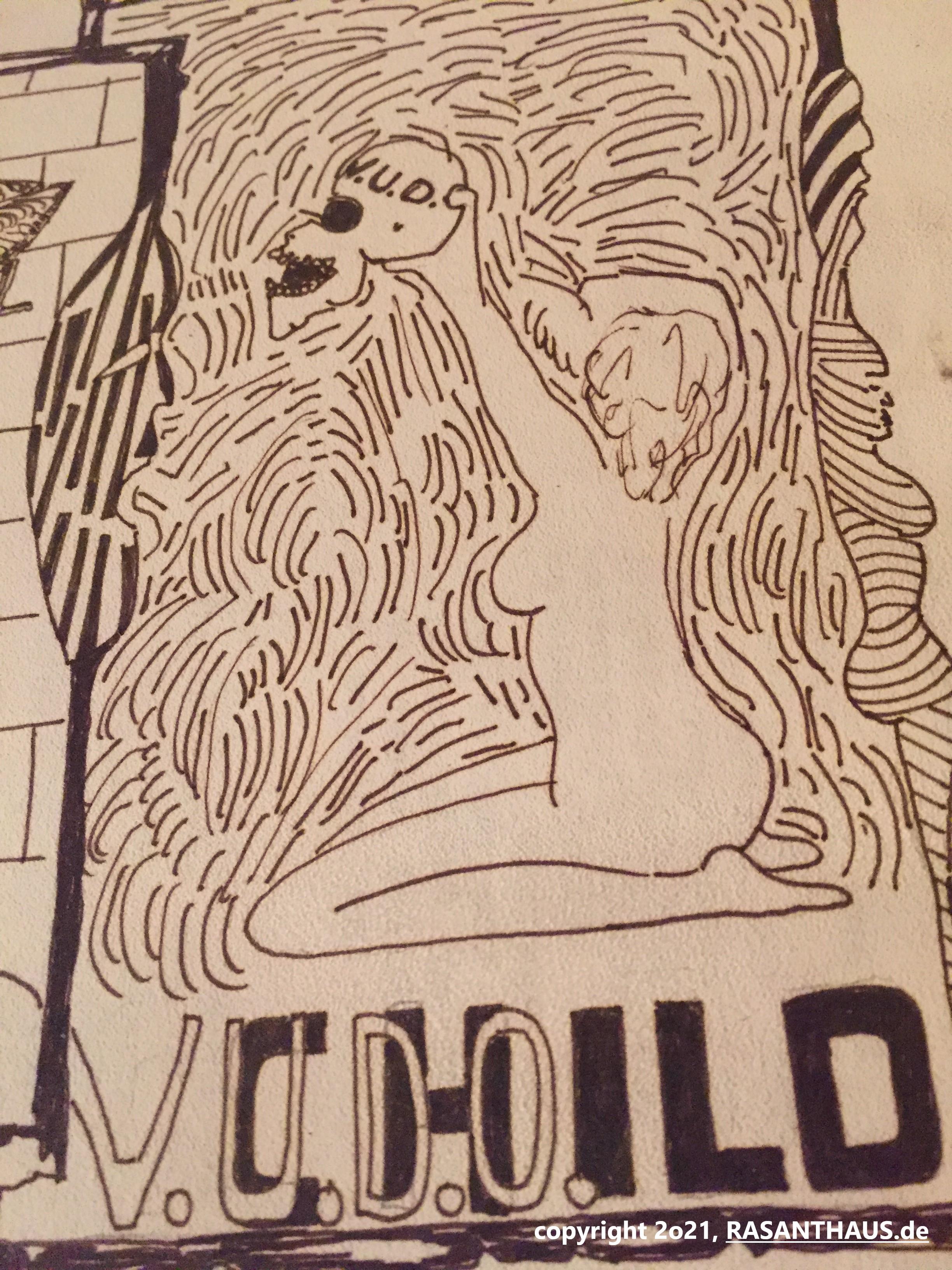 weibliches Aktmodel, seitlich auf ihren Schenkeln über Schriftzug ''V. U. D. O. -Child' als Anspielung auf Vudo Lindenbergh' sitzend, hält wie im Shakespeare-Drama einen menschlichen Schädel in die Höhe, ganz umgeben von Strich-Ornamenten