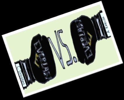 zwei Boxhandschuhe gegeneinander. Eins trägt die Aufschrift A. Kekulé und sein Pendant C. Drosten